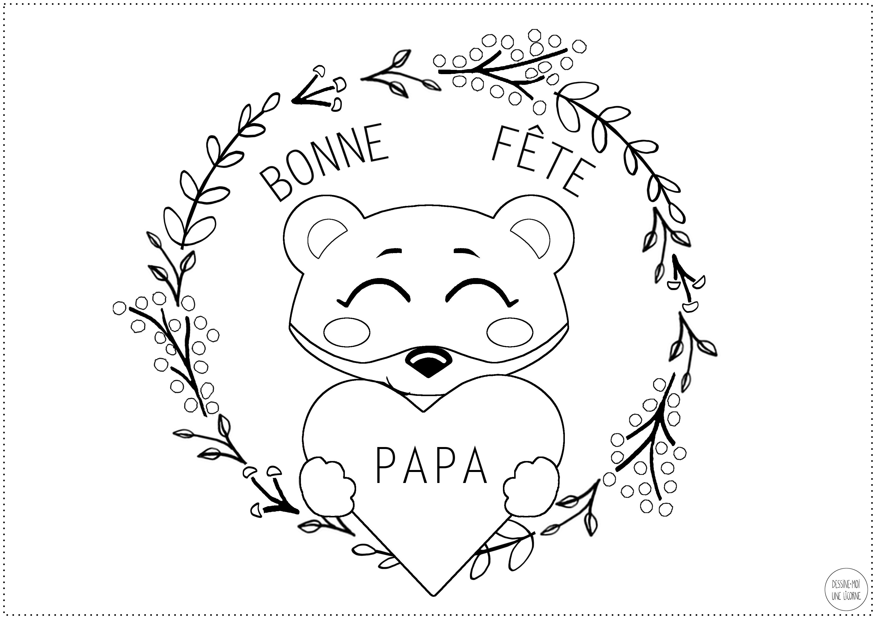 Activite Special Fete Des Peres Un Coloriage Ours Avec Un Cœur Bonne Fete Papa Modele A Telecharger Dessine Moi Une Licorne